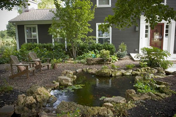 front yard pond feature