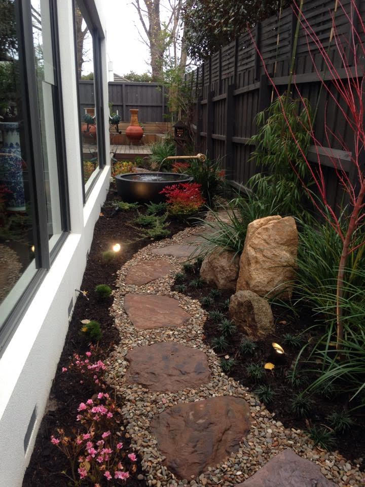 Natural paving in courtyard