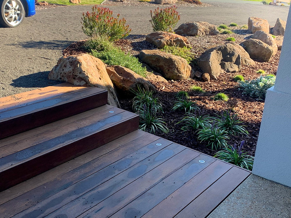 Entry decking with lights and planting