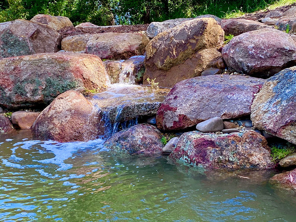 recreation pond with waterfall